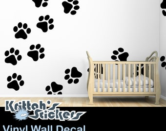 20 Dog Paw Vinyl Wall Decals - each paw is a separate decal, place them however you want, size listed is for each paw - K494