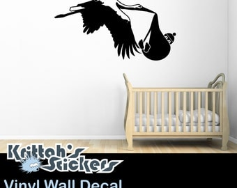 Stork Carrying Baby Child no.2 Vinyl Wall Decal (44 x 23 inches) K503