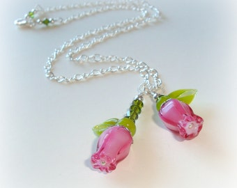 SALE Lampwork Necklace Roses - Artisan handmade lampwork pink roses and green leaves beads - spring nature - coloured flowers - rose pendant