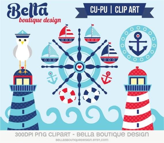 Items similar to Nautical Sailor Clip Art, Sailboat ...