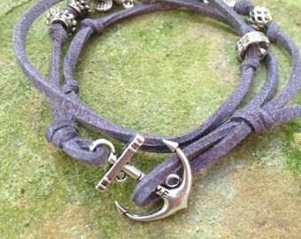 Dark Gray Leather Wrap Around Bracelet with Silver Anchor