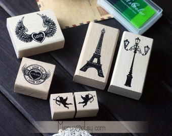 Antique Rubber Stamp Set - Wood Stamp - Deco Stamp - Diary Stamp - Filofax - Euro Style - 6 pcs in