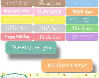 20 pastel card tags, colourful designs. INSTANT DOWNLOAD for Personal and commercial use.