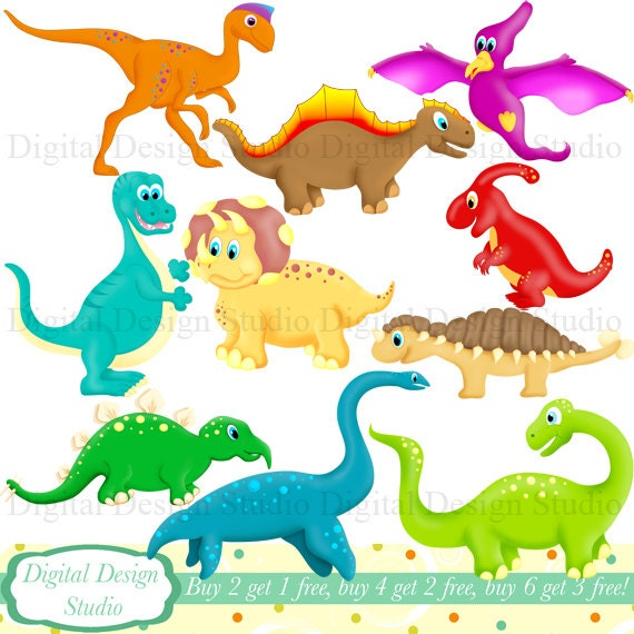 cute dinosaurs clip art set with free by digitaldesignstudio Baby Dinosaur Clip Art cute dinosaur clip art free