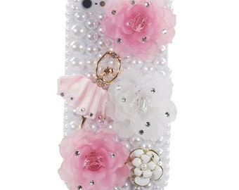 iPhone 5 Pearl Ballerina Pink Bling Flowers with Diamond Jewels 3D case