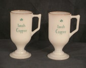 Set of 4 Irish Coffee Mugs --Vintage White Milk Glass with Gold Rim -- Shamrock and Celtic Caligraphy--St.Patrick's Day