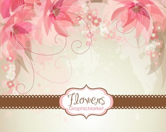 5 Flower Designs and 3 floral card templates - Clipart for scrapbooking, wedding invitations, Personal and Small Commercial Use.