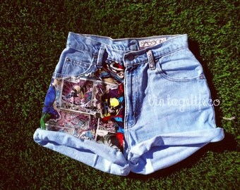 MARVEL Comics Panel Vintage High Waisted Denim Jean Shorts ALL Sizes Available