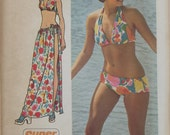 Vintage 1973 Simplicity Sewing Pattern For Bikini And Cover-Up Skirt