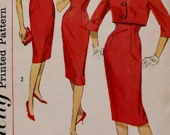 Simplicity 3062/ Vintage Sewing Pattern/ 1950s Sheath Dress/ Lace Crop Jacket /Simplicity 3062 /WIGGLE