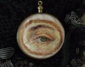 Antique Glass Locket Pendant Lovers Eye Portrait Silk Hand Embroidery Needle Painting Victorian Regency Jane Austen Steampunk Goth Memento