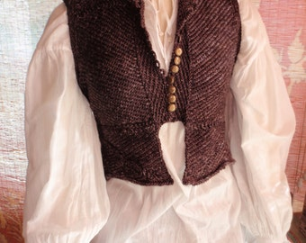 Romantic Renaissance Style  Hand Knit Doublet Bodice Woodland Game Of Thrones Outlander Steampunk Gypsy Vampire Goth Theatre