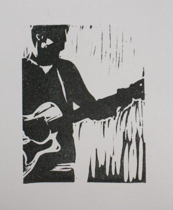 gitarre spieler schwarz wei linolschnitt erleichterung. Black Bedroom Furniture Sets. Home Design Ideas