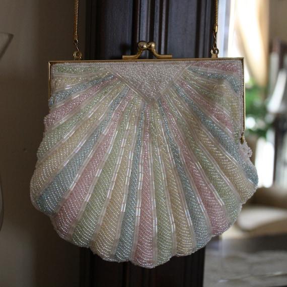 Vintage Andre Cellini Evening Bag Shoulder Prom Purse Beaded
