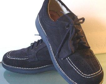 Vintage Blue Suede Italian Walking Shoes Il Piccolo Ciabattino Size 37 EUR