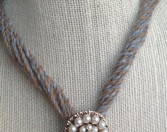 TASTEFUL Mid Century Gold Tone Faux Pearl Encrusted Round Brooch Pendant On Alpaca Yarn Necklace