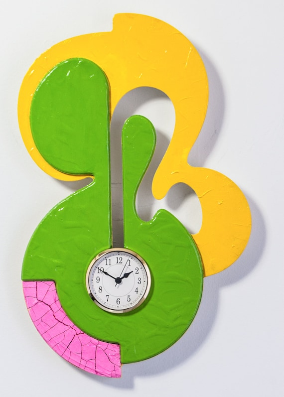 Modern Wall Clock Grungy Pink Green Yellow