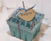 Berry Baskets-Lids- Tags- Ribbon included Crates-8  Better with -LIDS- 8 count- Ready for HoMemAde GooDiEs - Gift Package - Favors