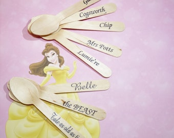 Wood Utensils BEAUTY and the BEAST 18 Hand STAMPED Words Custom Favors , Ice Cream Spoons, Eco Friendly