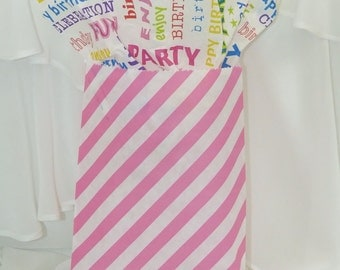 Candy Stripe PINK Party Favor Bags  24 Perfect for your Candy Buffet, Wedding, Baby Shower. Birthday Treats Bags