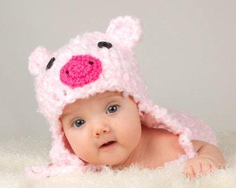 BABY PIG HAT, Pink Pig Hat, Crochet Pig Hat, Pig Photo Prop, Bulky Pig Hat, Baby Girl Piggy, Baby Girl Hat, Knit Baby Pig Hat, Piglet Hat