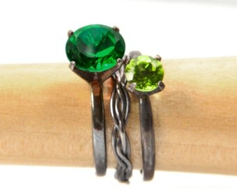 Sterling Silver Stacking Ring Set, Celtic Spring, Emerald and Peridot Stacking Rings