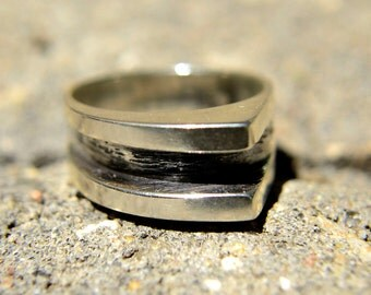 Silver Ring, Statement Double Peak Abstract One of a Kind Solid Sterling Silver Ring in Size 10 3/4 only
