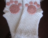 White and Furry Kitty Cat Paw Fingerless Gloves - FREE SHIPPING