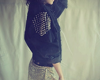 Studded Black Levi's Denim Jacket - Oversize Vintage - Grunge Punk