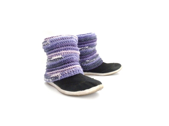 Pippi's Lavender Reversible Crochet LegWarmers, Ankle Cuffs, Purple, Lilac, Off white, Fall, Winter Fashion, Gift for Her