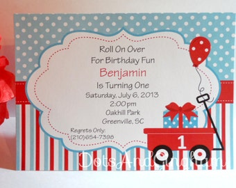 Red Wagon Invitation, Wagon Printable Invitation, Wagon Birthday Party, Boy Birthday Party, Vintage Toy Party