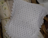 Knitted baby blanket, car seat/ moses basket size, lace pattern,  ready to ship
