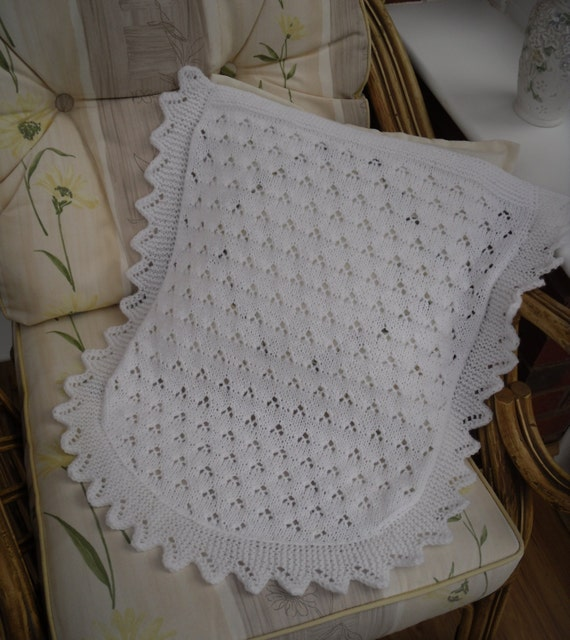Knitted Car Seat Blanket Pattern : Knitted baby blanket car seat/ moses basket size lace