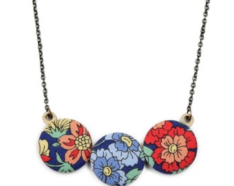 Floral Print Necklace in Midnight Blue, Red, Tangerine, Powder Blue and Yellow