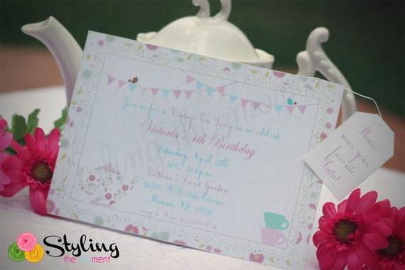 Tea Party Invitation with Hanging Tea Bag