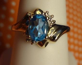 10k Blue Topaz & Diamond Ring Birthday Gift Birthstone Gold
