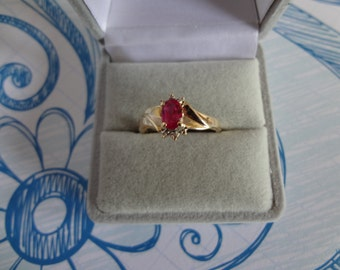 10k Gold Ring Red Ruby & Diamond Gift Birthday Gift Anniversary Sweet 16 Yellow Gold Ring Sparkler Wedding Gift Groom Bride