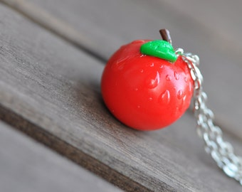 Apple with Raindrops/ Dew Drops Necklace *SALE*