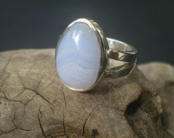 Handmade blue lace agate sterling silver ring