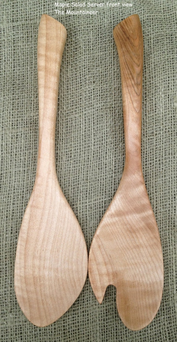 Maple Wood Salad Server set Handmade in America