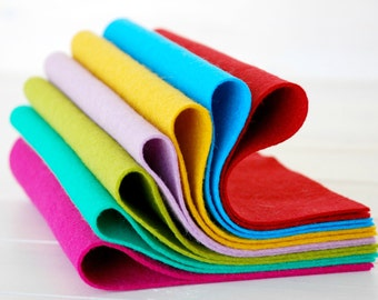 "100% Wool Felt Sheets - ""Crafty Colors Collection""  - 7 Wool Felt Sheets of 8"" x 12"" -  Wool Felt Sheets"