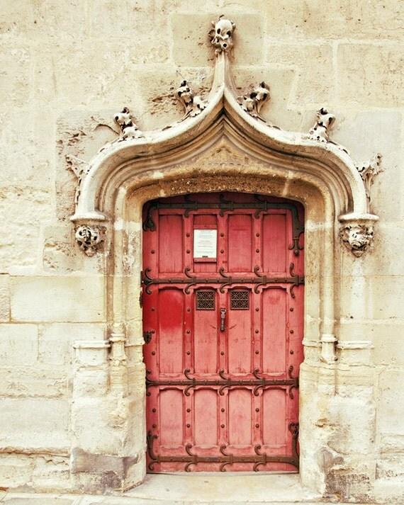 Big Red Door, Art Photo Print - Paris, Detail, Old, Historical - Brick, Cobblestone, French, France - Warm Tone, Autumn Harvest Color