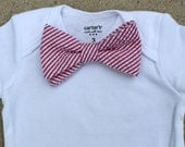 Baby Bow Tie Bodysuit - Red/Pink Seersucker - Just Like Dad - Preppy