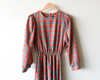 Vintage 70s Dress - Plaid Orange Dress Womens Bohemian Dress Teal Purple : Size Small / Medium Made in the USA 100% Cotton