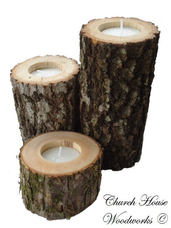 3 rustic wood candle holders sticks for votive candles for Rustic wood candle holders