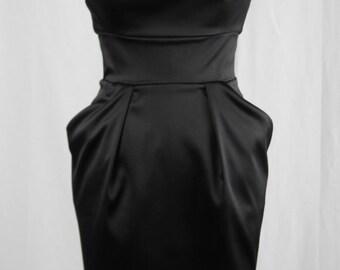 Baylis & Knight Black Satin 50's Retro Wiggle Bombshell Drape Knee Dress Burlesque Dita Pin Up