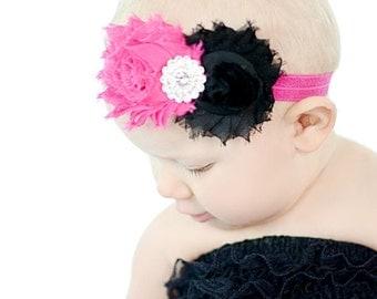 Black & Hot pink Shabby Headband Shabby chic Headband Baby headband rhinestone newborn headband flower headband baby girl headband