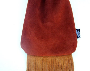 Hybrid Heady Suede Leather Fringe Neck Pouch, Medicine Pouch, Hip Bag, Pipe Pouch