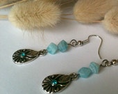 Blue Stone Dangle Earrings With Decorative Silver Focal Aqua Gem Stone Handmade