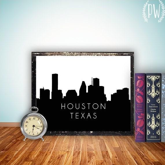 Dallas Houston Texas Skyline Art Printable By PrintableWisdom